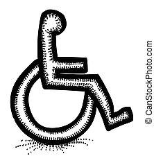 akadály, kép, megközelíthetőség, Karikatúra, ikon, jelkép