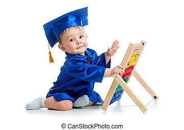 akademiker, baby, leka, med, kulram, leksak