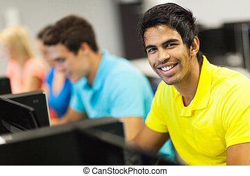 akademiker, in, computerzimmer
