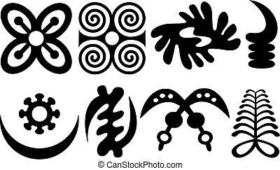 akan, ensemble, ouest, symboles, adinkra, africaine