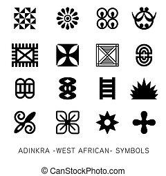 akan, ensemble, symboles, adinkra, vecteur, -west, african-