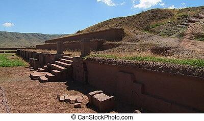 Akapana Pyramid Ruins Of Tiwanaku, La Paz, Bolivia - Medium...