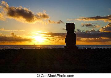 akapu, moai, 島, 像, ahu, イースター, 日没
