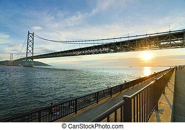 Akashi Bridge - Akashi Kaikyo bridge in Kobe, Japan spanning...