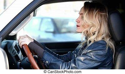 akcentowany, handel, kobieta, dżem, kierowca