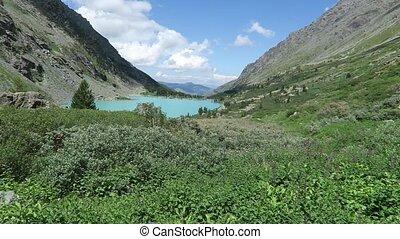 Akchan turquoise lake scenic view. Altai mountains.