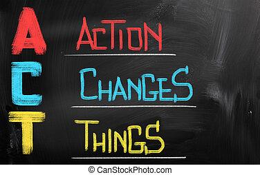 akció, átalakul, ruhanemű, fogalom