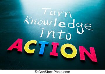 akció, fordít, tudás