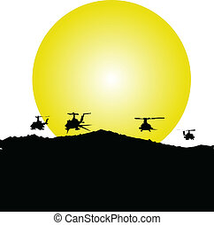 akció, helikopter, ábra
