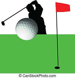 akció, körvonal, golfjátékos, vektor