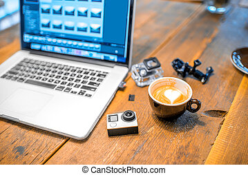 akció, kicsi, fényképezőgép, video, asztal
