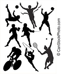 akció, sports., vektor, zsúfolt, ábra