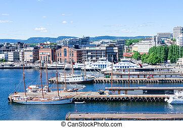 Aker Brygge Oslo Norway - Aker Brygge pier at downtown Oslo,...