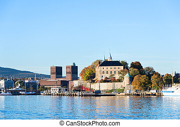 Akershus Fortress and City Hall (Radhuset) at autumn, Oslo, Norway