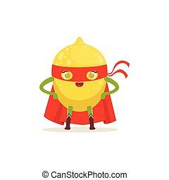 akimbo, limón, carácter, brazos, superhero, caricatura
