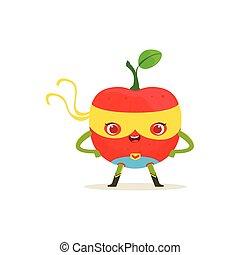 akimbo, superhero, manzana, carácter, brazos, caricatura
