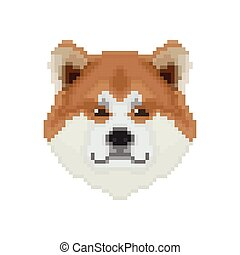 Akita Inu dog head in pixel art style. Vector illustration.