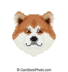 Akita Inu dog head in pixel art style. Vector illustration.