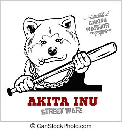 Akita Inu dog with a baseball bat. Thug - Ghetto Warrior. ...