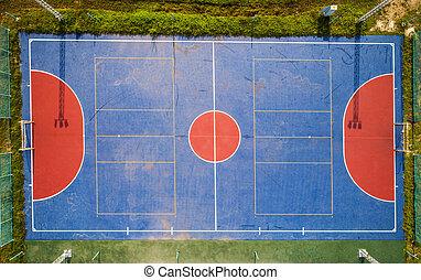 akker, aanzicht, luchtopnames, local., voetbal, futsal