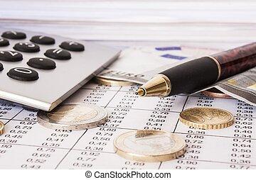 akker, diepte, rekeningen, rekenmachine, geld