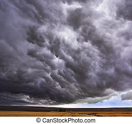 akker, enorm, storm, boven, wolk