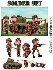 akker, geweer, soldaten