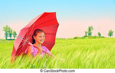 akker, meisje, paraplu