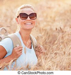 akker, meisje, vrolijke , tarwe, reiziger