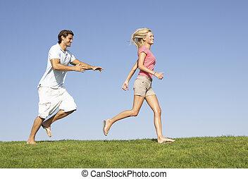 akker, rennende , door, paar, jonge