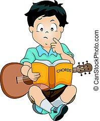 akkorde, kind, gitarre, junge, studieren