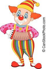 akkordeon, karikatur, clown, spielende