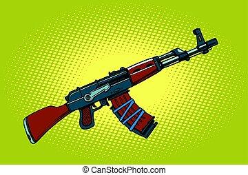 AKM Soviet automatic weapons. Comic cartoon style pop art...