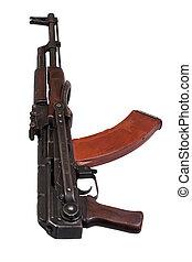 AKMS (Avtomat Kalashnikova) airborn version of Kalashnikov assault rifle on white