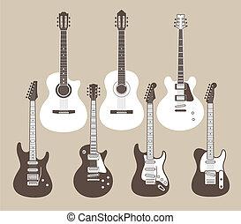 akoestisch, elektrische guitars
