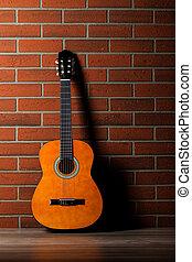 akoestische guitar, leun, een, wall.