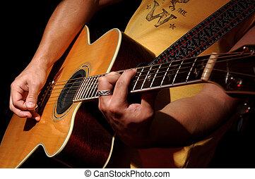 akoestische guitar, opvoering, door, muziekband
