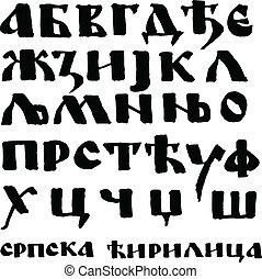 akol, cyrillic, kivezetés, írott, serbian