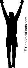 akrobat, beliggende, silhuet, baggrund, hænder, hvid