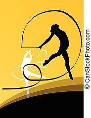 akrobatika, repülés, fiatal, körvonal, tornászok, aktivál,...