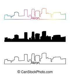Akron skyline linear style with rainbow in editable vector...
