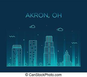 Akron skyline Ohio USA Trendy vector city linear