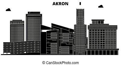 Akron , United States, outline travel skyline vector illustration.
