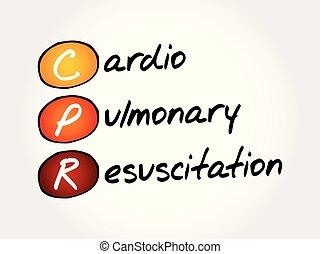 akronym, wiederbelebung, cpr, -, kardiopulmonal
