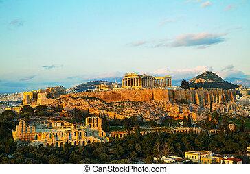akropolis, in, athen, griechenland, in, der, abend