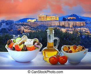 akropolis, mit, griechischer salat, in, athen, griechenland