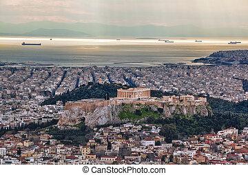 akropolis, mit, parthenon, tempel, in, athen, griechenland