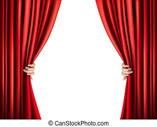 aksamit, illustration., wektor, tło, curtain., czerwony