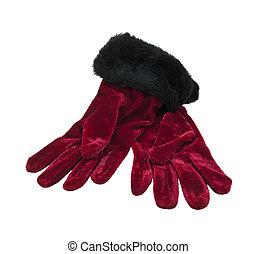 aksamit, rękawiczki, czerwony