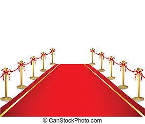 aksamit, rope., wektor, czerwony dywan